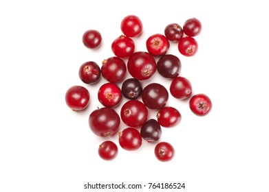 Red ripe cranberries close-up isolated on white background. Top view point.