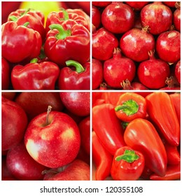 Red ripe fruit and vegetables in the collage