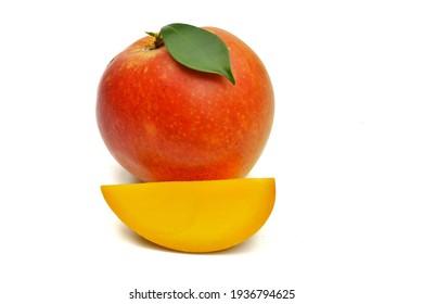 Red ripe mango summer fruit yellow flesh sliced isolated on white background