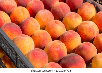 a lot of red ripe peaches lie in rows in boxes, a new crop of peaches