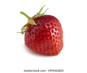 Red ripe strawberries isolated on a slimy background. Fresh fruit, full focus
