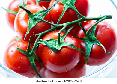 Red ripe tomato branch, appetizing vegetables nourish a tomato with water drops, close-up. Bunch of tomato with sprigs and leaves, horizontal