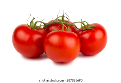 Red ripe tomatoes with green branch isolated on white background