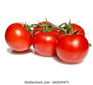 Red ripe tomatoes on green branch isolated on white background