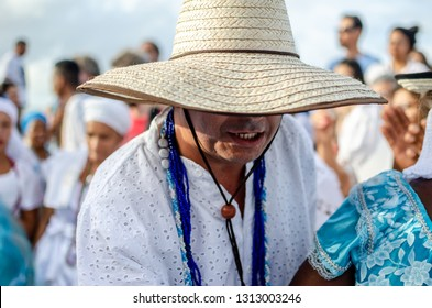 Red River, Salvador, Bahia, Brazil. February 2, 2019. A popular festival to celebrate Iemanjá Day, the event attracts people from Afro-Brazilian religions such as Candomblé and Umbanda.