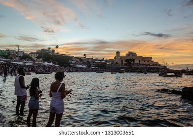 Red River, Salvador, Bahia, Brazil. February 2, 2019. A popular festival to celebrate Iemanjá Day, the event attracts people from Afro-Brazilian religions such as Candomblé and Umbanda