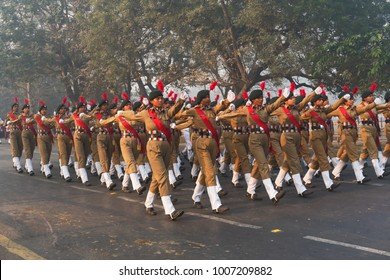 RED ROAD, KOLKATA, WEST BENGAL / INDIA - 21ST JANUARY 2018 : India's National Cadet Corps's (NCC) lady cadets are marching past, preparing for India's republic day celebarion on 26.01.2018.
