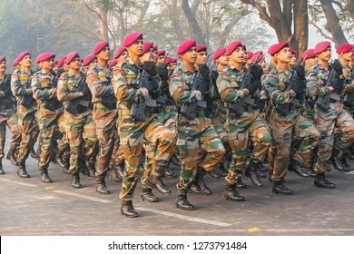RED ROAD, KOLKATA, WEST BENGAL / INDIA - 21ST JANUARY 2018 : Indian armed force Officers are marching past with light machine guns, preparing for show for India's republic day celebarion.