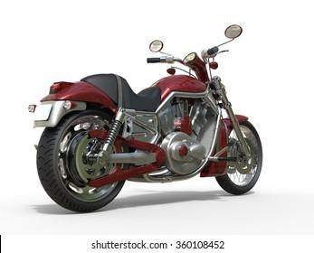 Red Roadster Bike - Rear View