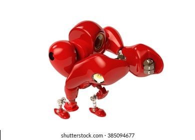 A red robot hands up, put on boxing pose