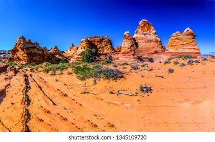 Red rock canyon desert landscape. Sandstone red rock canyon view. Red rock canyon mountains. Red rock canyon desert sandstones