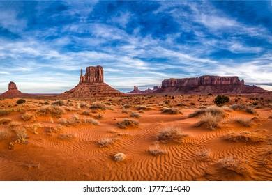 Red rock canyon desert landscape. Desert in canyon. Red rock canyon desert landscape view