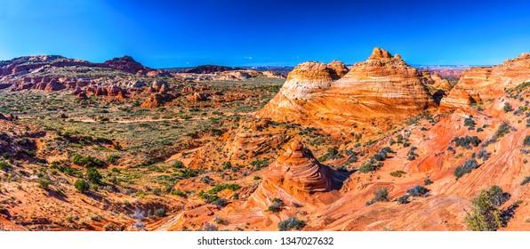 Red rock canyon desert panorama. Mountain red rock canyon valley panoramic landscape. Red rock canyon valley top view panorama. Mountain red rock canyon valley panorama