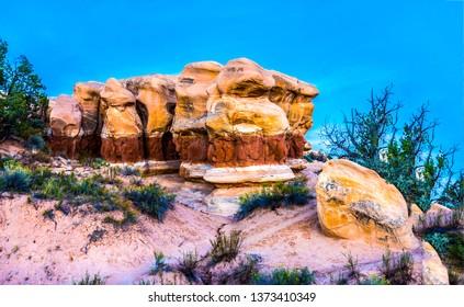 Red rock canyon desert scene. Mountain red rock canyon sandstones. Red rock canyon sandstones. Sandstones in red rock canyon desert