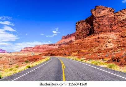 Red rock canyon highway road landscape. Sierra Nevara red rock canyon desert highway road panoramic landscape. Red rock canyon desert highway road to Las Vegas, USA