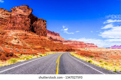 Red rock canyon highway road landscape. Mountain red rock canyon road view. Red rock canyon desert road landscape. Red rock canyon road view