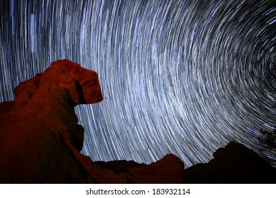 Red Rock Canyon Milky Way Galaxy in Mojave Desert California USA