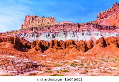Red rock canyon mountains landscape. Mountain red rock canyon panorama. Red rock canyon desert sandstone landscape