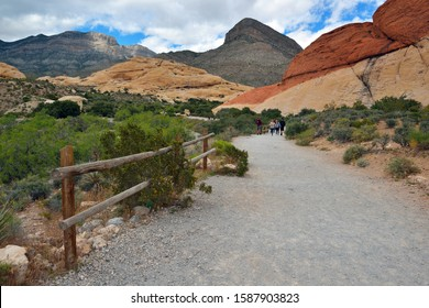 Red Rock Canyon National Conservation Area, Nevada, USA - May 27, 2019: View of Rock Formations  at Day