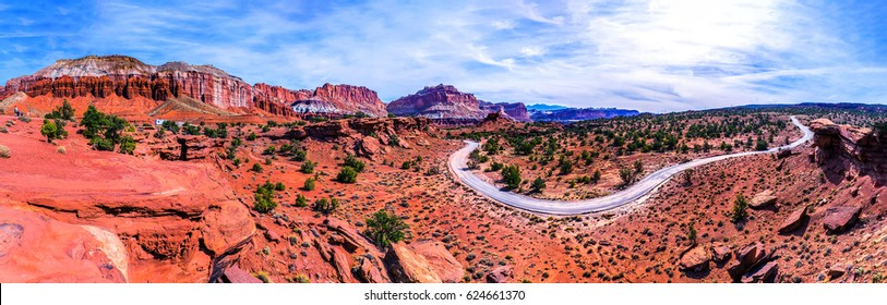 Red rock canyon Nevada road panoramic landscape