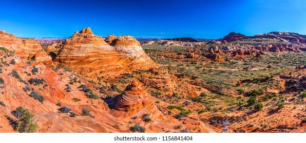 Red rock canyon panoramic landscape. Sierra Neavada red rock canyon desert panoramic landscape. Red rock canyon sandstone desert panoramic view