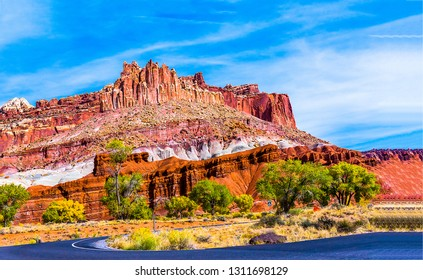 Red rock canyon road landscape. Mountain red rock canyon road view. Red rock canyon mountains. Mountain road in red rock canyon