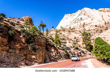 Red rock canyon road landscape. Canyon road in mountains. Red rock canyon road in mountains. Mountain road in red rock canyon