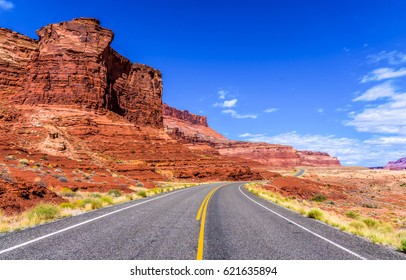 Red rock canyon road. Mountain highway road in canyon landscape
