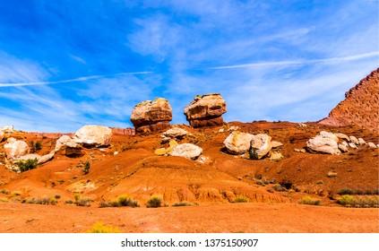 Red rock canyon sandstones landscape. Mountains in red rock canyon desert. Red rock canyon desert view. Red rock canyon desert sandstones