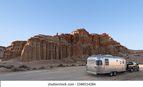 RED ROCK CANYON STATE PARK, CA/USA - FEBRUARY 26, 2017: Airstream Travel Trailer shown against the Red Cliffs at Red Rock Canyon State Park.