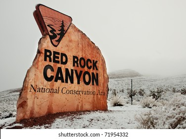 Red Rock Canyon State Park, Nevada covered in a rare snowfall.