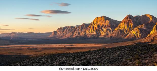 Red Rock Canyon at sunset in paroramic