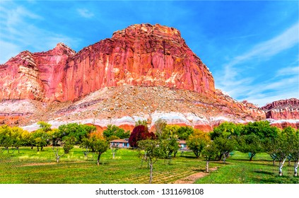 Red rock canyon valley farm landscape. Mountain valley farm in red rock canyon. Red rock canyon farm in mountain valley scene