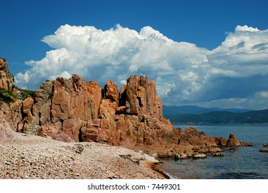 Red rock, coast of the Sea of Japan, Pacific ocean