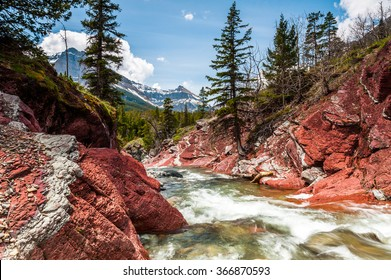Red Rock creek in motion and canyon in Waterton Lakes National park, alberta, canada