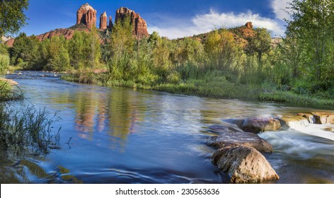 Red Rock Crossing on Oak Creek at the base of Cathedral Rock in Sedona  Arizona.