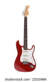 Red rock guitar isolated on white