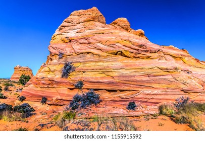Red rock mountain cliff view. Sandstone mountain in red rock canyon desert scene. Nevada red rock sandstone canyon view