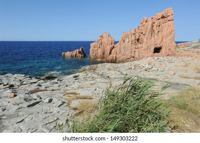 Red Rock on the coast of Arbatax on the island of Sardinia, Italy
