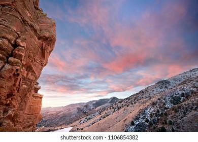 Red Rock Park during winter sunrise, near Denver Colorado
