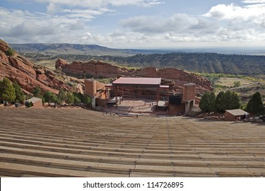 Red Rocks Amphitheater with downtown Denver, Colorado in the distance