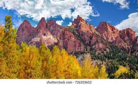 Red rocks with Aspen trees in Colorado