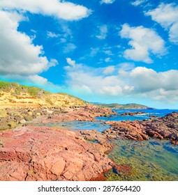 red rocks by the sea in Sardinia, Italy