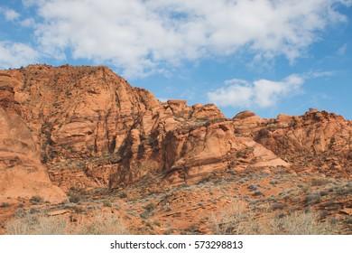 Red rocks in the desert.