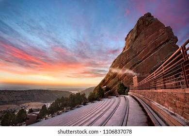 Red Rocks during a winter sunrise, near Denver Colorado