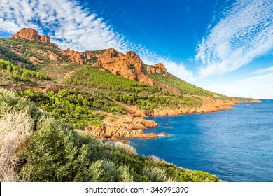 Red Rocks of Esterel Massif and Plants During Summer Day-French Riviera, Provence-Alpes, Cote d'Azur, France