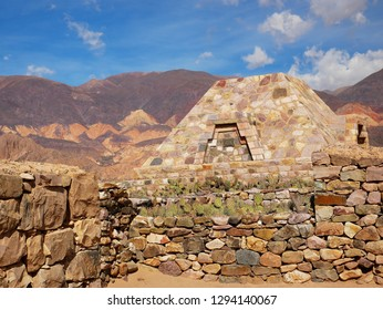 Red rocks and Inca ruins in Tilcara, Quebrada de Humahuaca, Argentina