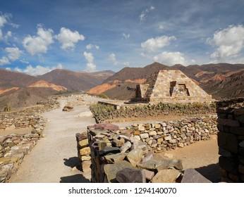 Red rocks and Inca ruins in Tilcara, Quebrada de Humahuaca, Argentina