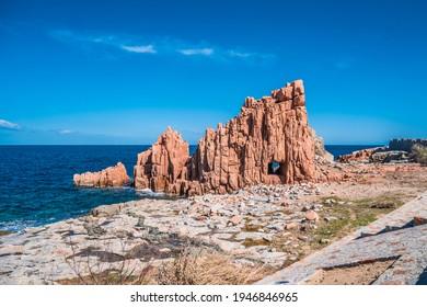 The red rocks of Isola Rossa, municipality of Arbatax, Sardinia.