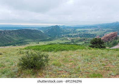 red rocks park overlook of mountain range and valley in jefferson county colorado